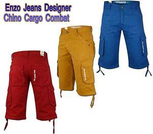 Jeans-d-039-Enzo-Designer-Chino-Cargo-Combat-100-coton-decontracte-ete-short