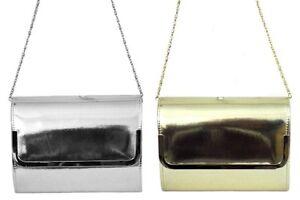 Ladies Ella Metallic Patent Evening Bag Detachable Chain Strap Style 72627 72628