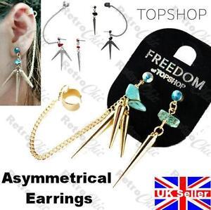 TOPSHOP gemstone CHIP&SPIKE earcuff EARRINGS goth PUNK CHAIN EAR CUFF black/gold