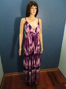 Plus-Size-3x-purple-TIE-DYE-PRINT-ELASTIC-WAIST-MAXI-dress-by-MAGIC