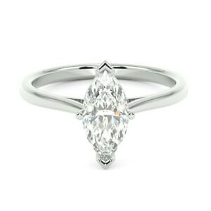 Last Piece..! 1.00ct Marquise Diamond Claw Set Solitaire Ring, White Gold