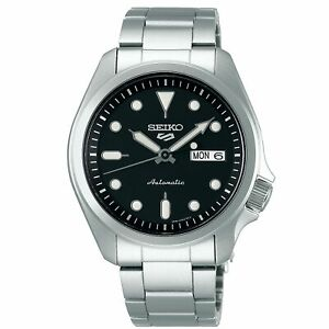 Seiko-5-Sports-Black-Dial-Silver-Steel-Bracelet-Men-039-s-Watch-SRPE55K1-RRP-230