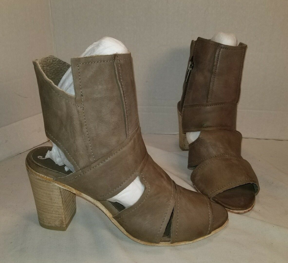 NEW NEW NEW FREE PEOPLE EFFIE BLOCK HEEL TAUPE LEATHER ANKLE bottes femmes EUR 38 US 8 14083d