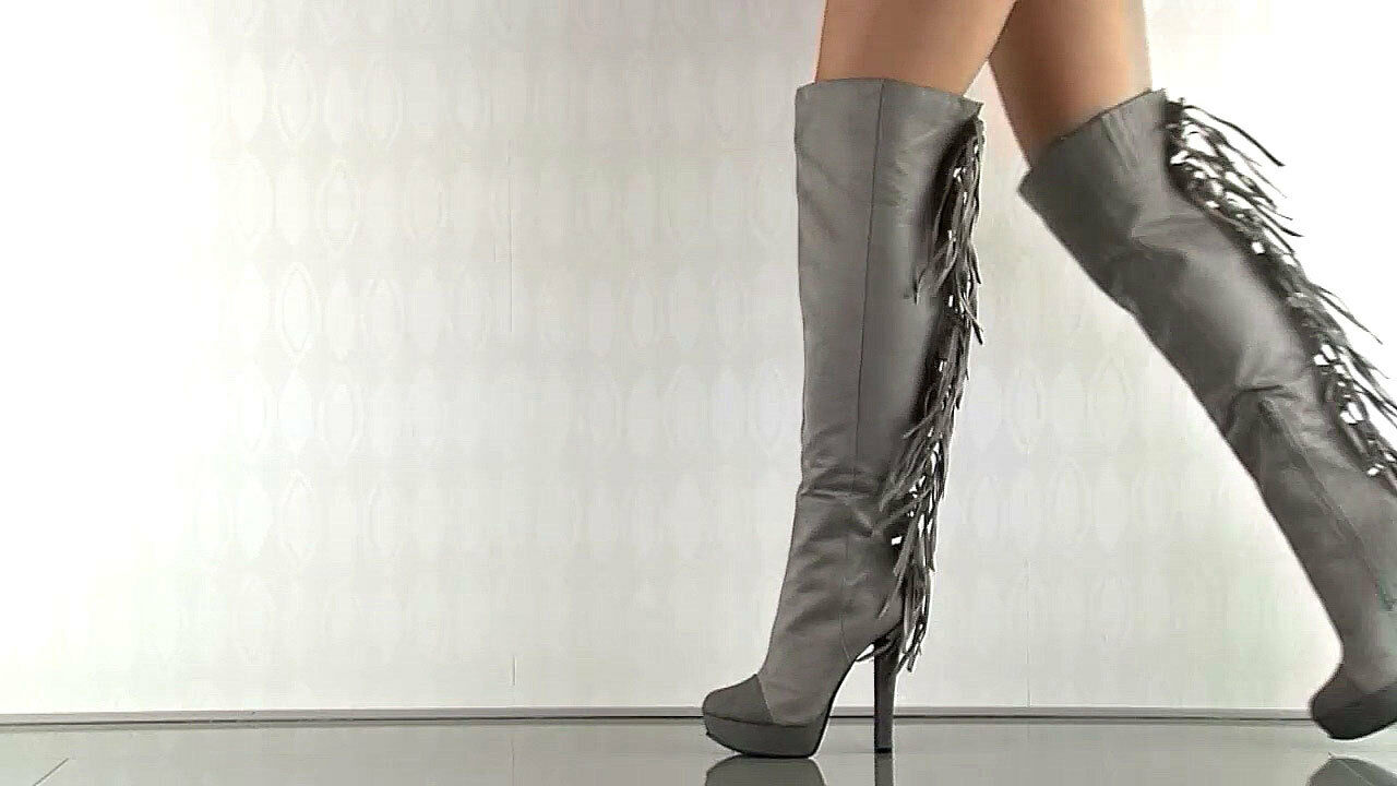 Michael Antonio Fringe hemet Grau Suede Stiefel over the knee NEU sz 6.5