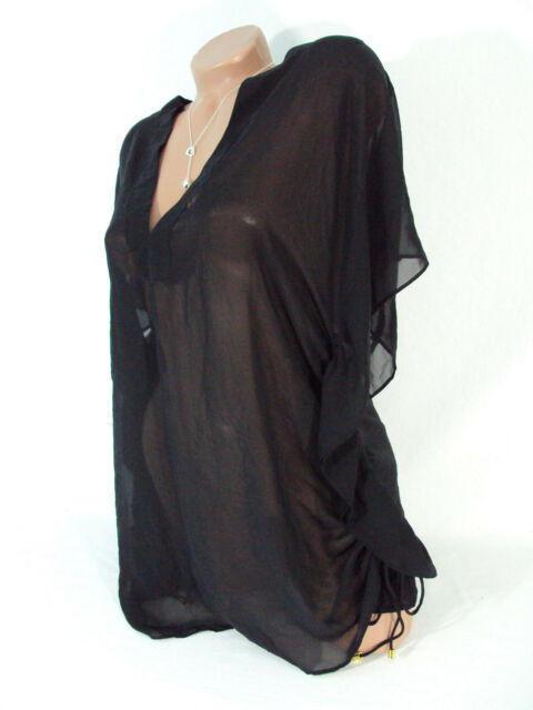 c3e9c447cd626 Victorias Secret Beach Coverup Blouse Chiffon Tunic Black Sheer Womens XS S  Nwt