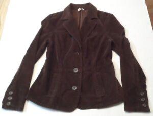 St-Jones-Bay-Womens-Blazer-Size-Medium-Stretch-Brown-Corduroy