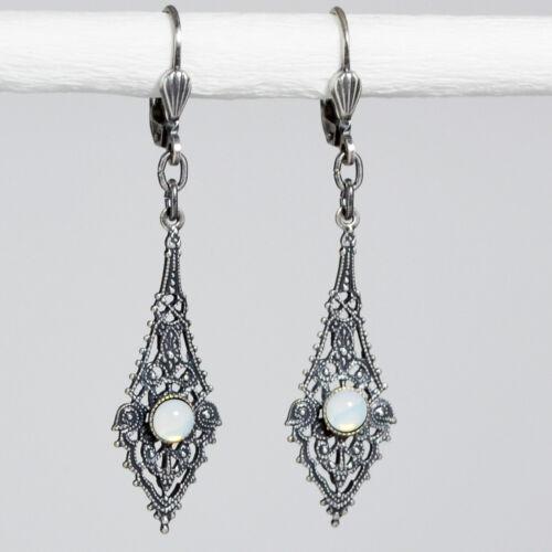 Grevenkämper aretes de plata vidrio Opal vidrio redondo de piedra vintage retro blanco Opal