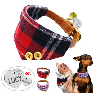 British-Plaid-Pet-Dog-Bandana-Collar-Slide-On-Neckerchief-Scarf-With-Name-ID-Tag