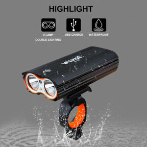2400LM Double LED USB Rechargeable Bicycle Head Lights Bike Lamp+Rotating mount
