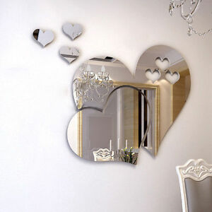 3D Mirror Love Heart Wall Sticker Decal DIY Room Art Mural Decor Removable T99