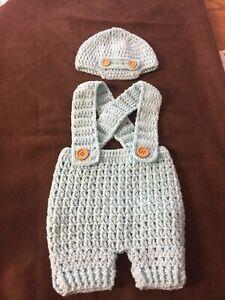 Crochet Baby Boy Romper Set 0 3 Months Romper N Hat Ebay
