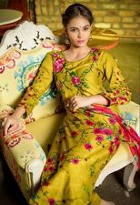 Glace Cotton Printed Embroidered Salwar Kamiz Suit With Chiffon Printed Dupatta