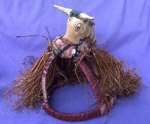 Santeria-Vodou-Magnificent-Carved-Wood-Bull-amp-Fiber-Bosou-Headdress