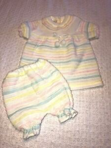 Vintage-Soft-Spun-2-Piece-Outfit-Baby-Girls-Knit-Dress-amp-Bottom-Sz-6-12-Mos-GUC
