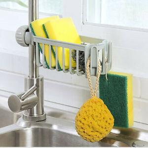 Kitchen-Sink-Faucet-Sponge-Soap-Cloth-Drain-Rack-Storage-Organizer-Holder-Shelf