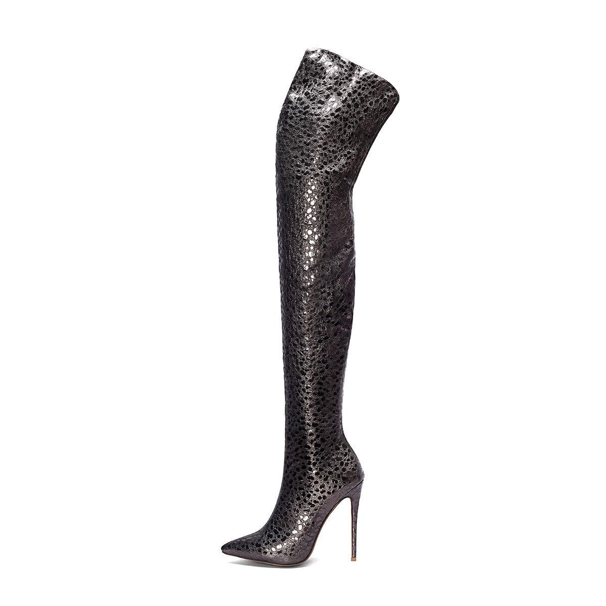 Para Mujer Zapatos Stiletto Puntiagudo Cremallera Cremallera Cremallera Sobre la Rodilla botas Taco Alto del muslo Reino Unido Talla O441 ea4c26