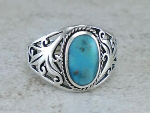 USA Seller Oval Turquoise Ring Sterling Silver 925 Best Deal Jewelry  Size 9