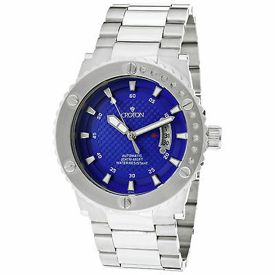 CROTON MEN'S AQUAMATIC AUTOMATIC BLUE DIAL STAINLESS STEEL WATCH $425.00 RETAIL
