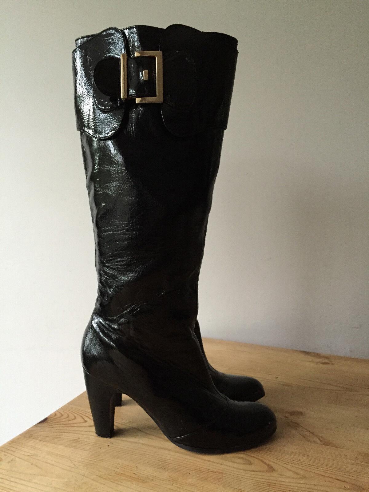 DAPHNE LADIES BLACK PATENT LEATHER KNEE HIGH BOOTS UK5