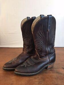 ed5e9bbee3e VIBRAM Resist Oil No-Mark Western Brown Leather Cowboy Boots Mens ...