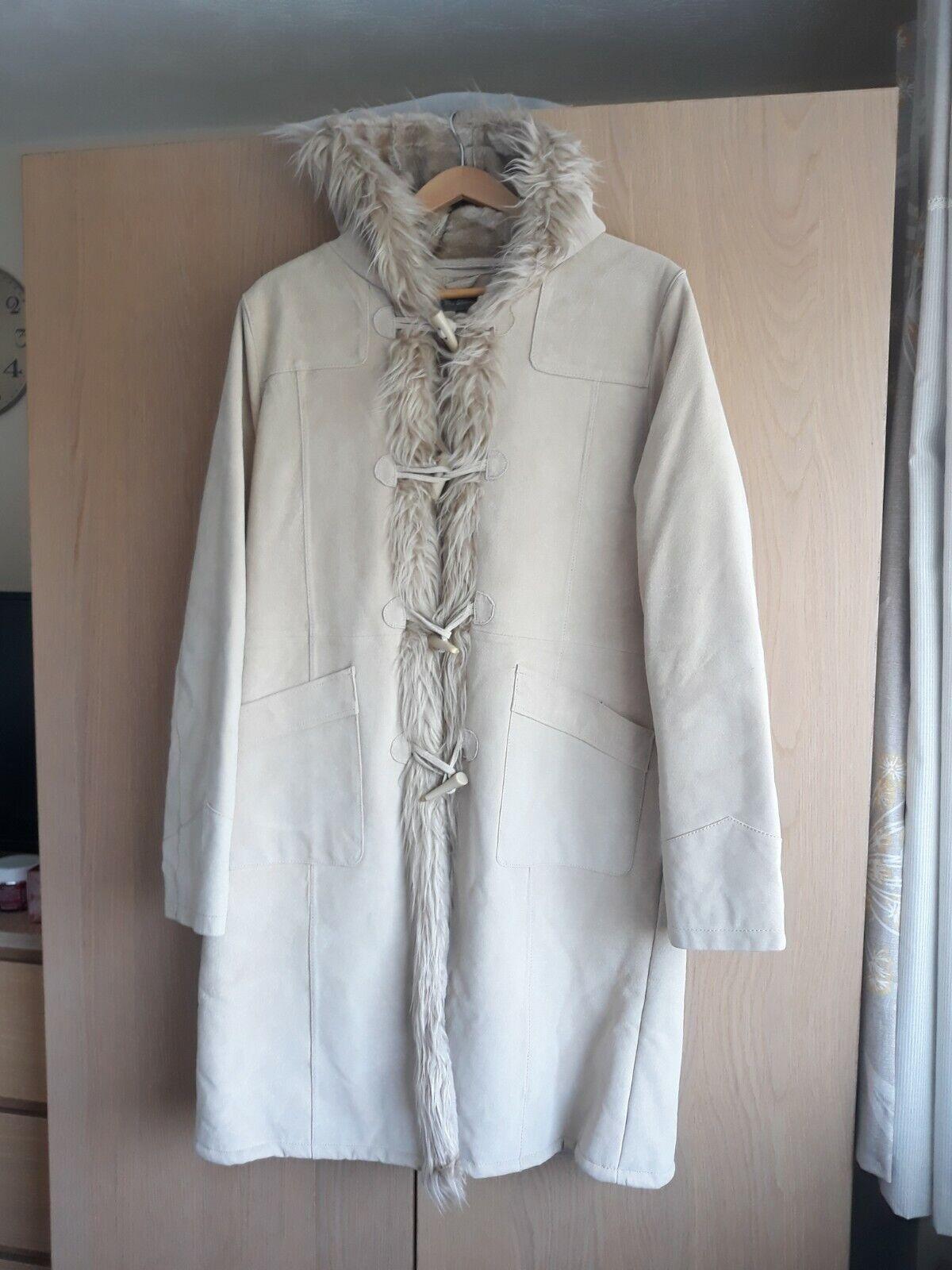 Ladies Ben Sherman Leather/ Suede Coat Cream Beige Duffel Coat, Lovely Condition