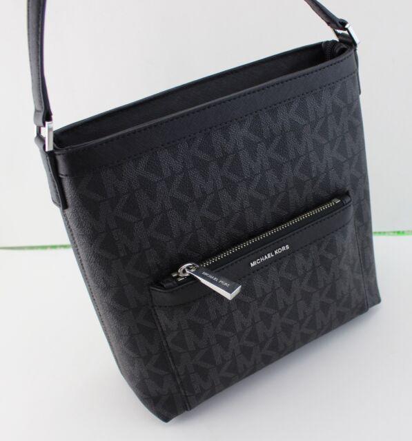 New Authentic Michael Kors Morgan Black Signature Md Messenger Crossbody Handbag