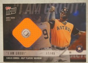 super popular cb8b4 36d8d Details about Carlos Correa 2018 Topps Now Players Weekend Jersey /49 I AM  GROOT Astros