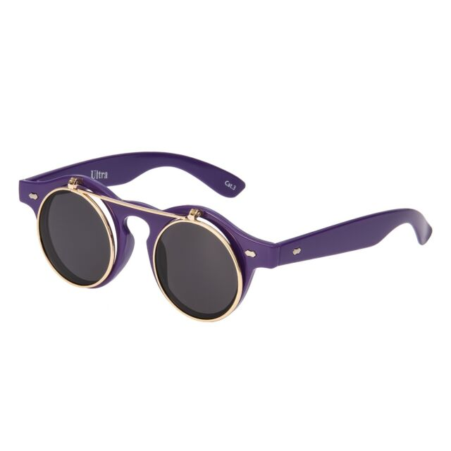 e84afcb8b194 Purple Black Flip up Circle Steampunk Glasses Cyber Round Sunglasses ...