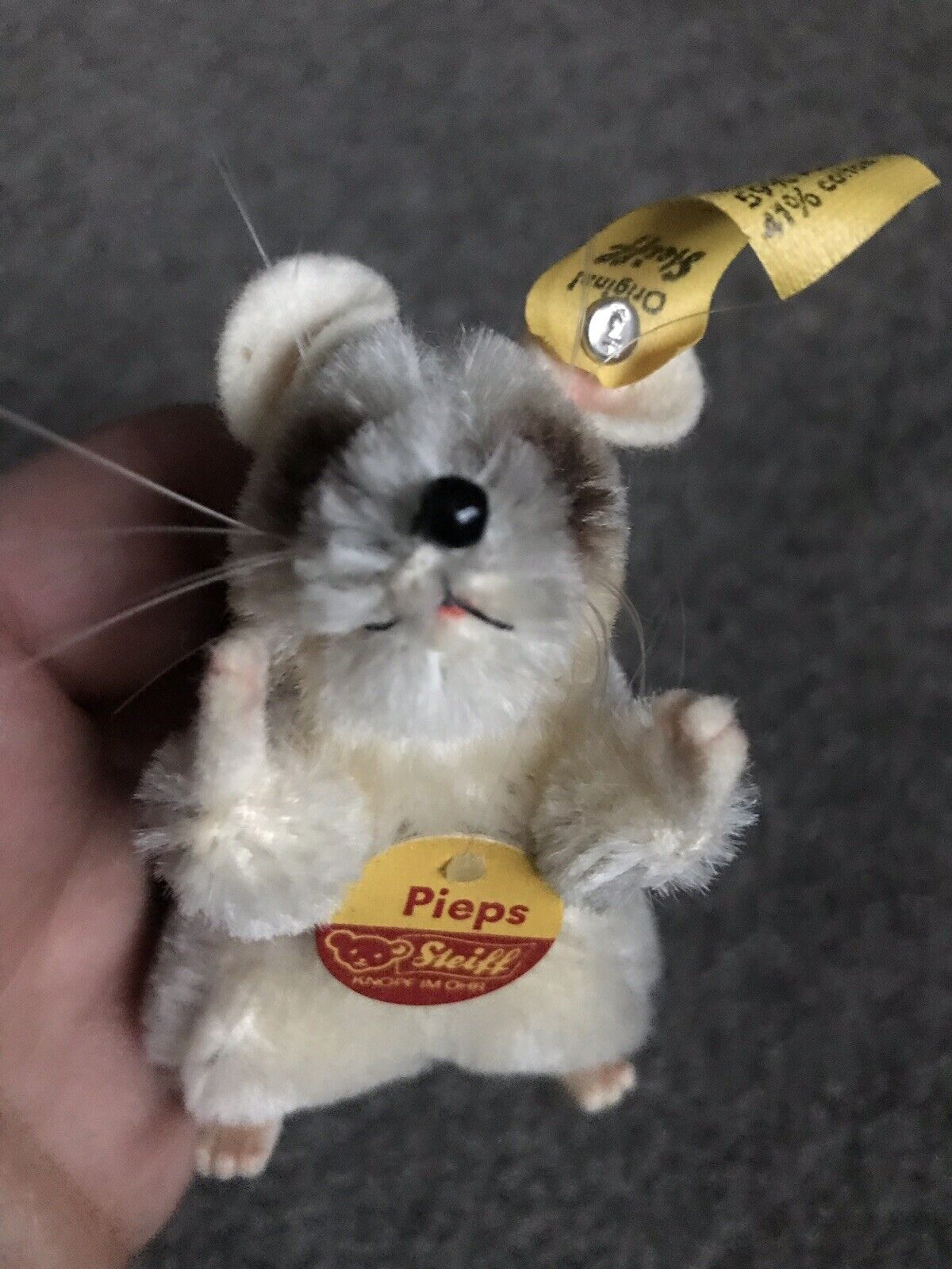 Vintage Adorable Mohair Miniature Steiff 'Pieps' mouse Excellent ALL ID Buy Now