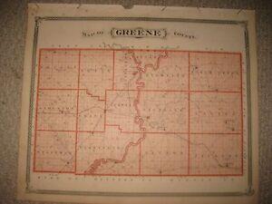 Howard County Indiana Map.Antique 1876 Greene County Vincennes Sullivan Merom Carlisle Indiana