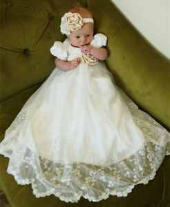 Dedication gown white lace and linen baby dress Emily white Infant Linen Lace and Pleats Christening gown Blessing gown Baptism gown