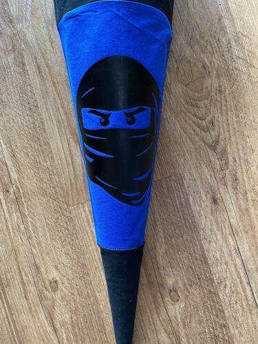Zuckertüte aus Stoff selbstgenäht mit Wunschnamen 70cm Ninja Schultüte