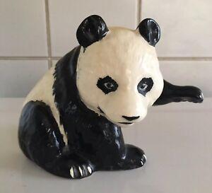 Vintage Beswick Black/white Panda With Label Pottery, Porcelain & Glass Beswick