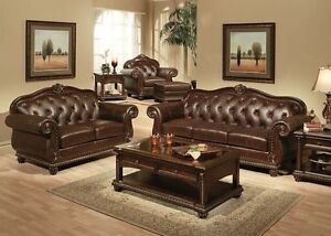 Details about Formal Living Room Traditional Luxurious Leather 2pc Sofa Set  Sofa & Loveseat
