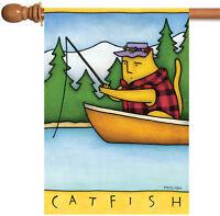 Toland - Catfish - Colorful Funny Humor Kitty Cat Canoe Fishing House Flag