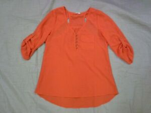 Love Riche Womens 3/4 Sleeve Orange Shirt With Shoulder Cut Outs Size Small