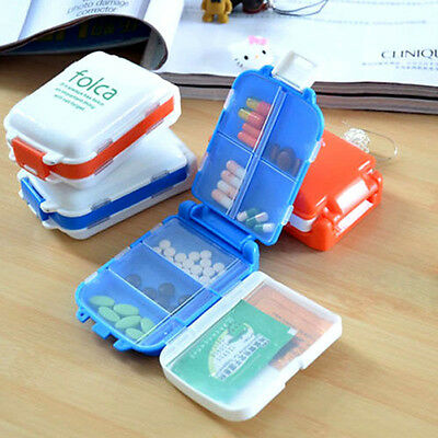 Travel 8 Compartment Pill Box Medicine Tablet Holder Organizer Dispenser Case