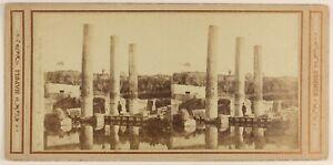 Pozzuoli-Tempio-Da-Serapis-Italia-Foto-Sommer-Stereo-Vintage-Albumina-c1862