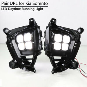 For-Kia-Sorento-2018-2020-DRL-Fog-Lamp-Bezel-4-Eyes-LED-Daytime-Running-Light