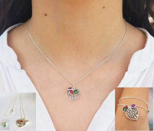 Free Gift Box Tree of life Initial Necklace Birthstone Charm With Initial