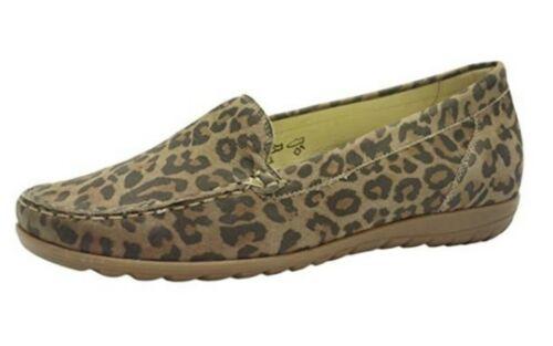 WALDLAUFER 329504 hesima in pelle marrone Leopard stile mocassino comfort interno