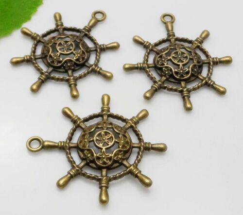 10pcs 38x34mm Vintage Argent Antique Bronze Alliage de Zinc Gouvernail Charms Pendentif