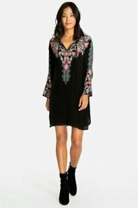 Johnny-Was-Black-Tanyah-Long-Sleeve-Embroidered-Dress-C30117-NEW