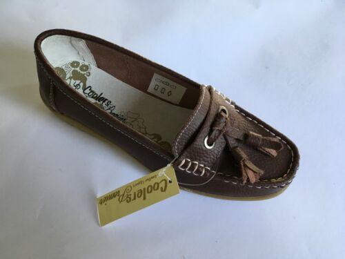 Womens Leather Moccasins Mocs Deck Shoes Slip On Tassel Enclosed Ballet BNIB 106