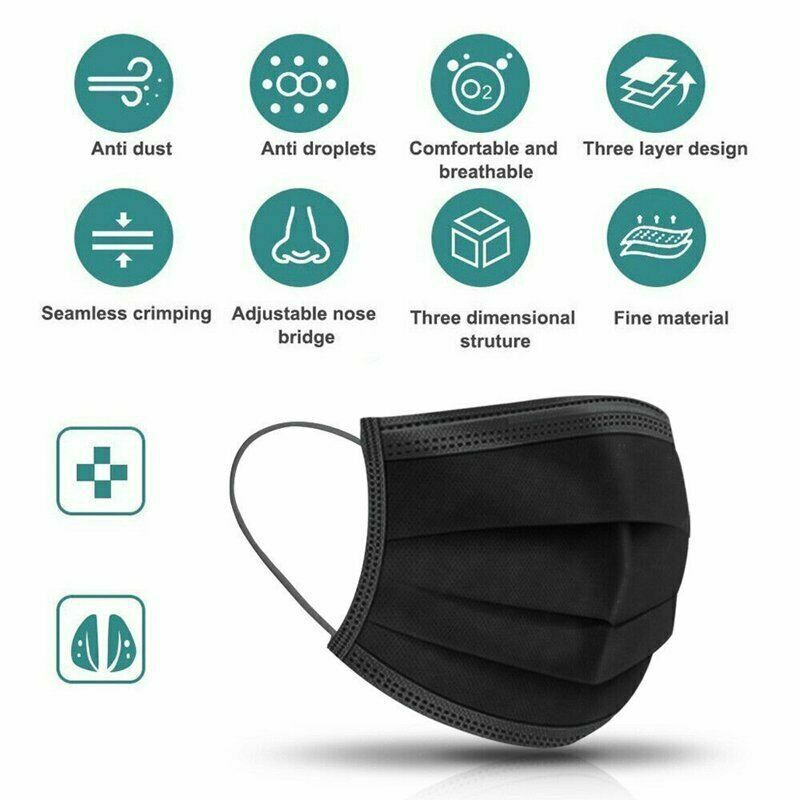 50PCS Disposable Cotton Fabric,3-Ply Breathable Anti-Dust Protective Mouth/_Cover with Earloop Black Comfortable and Adjustable