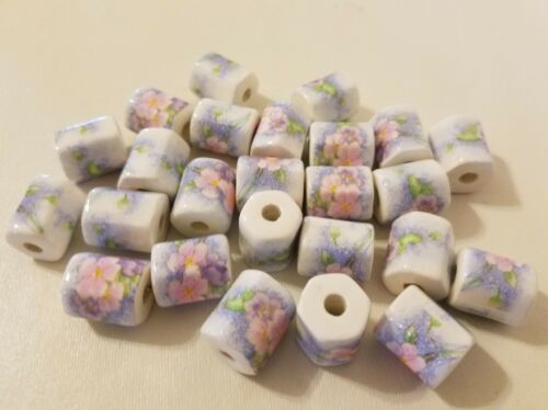 Lot of 25 Painted Pastel Floral Flower 17mm Beveled Ceramic Craft Jewelry Beads