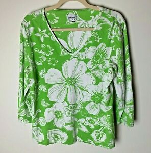 Chico's Women's Top Size 2 (Large, 12) Floral 3/4 Sleeves Green White Casual