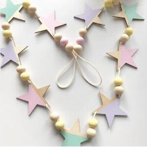 LK-stelle-Perline-legno-Banner-neonati-bambini-stanza-Nursery-Festa-da-parete