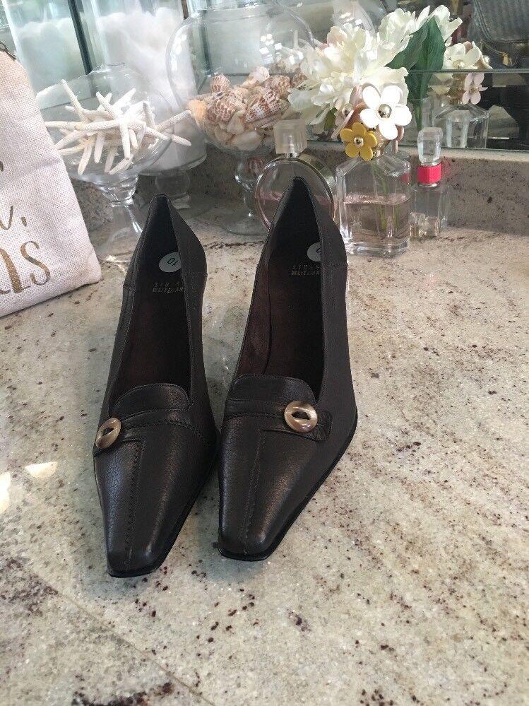 Stuart Weitzman Kitten Heel Women's 10 M Brown Leather Shoes Elongated Toe