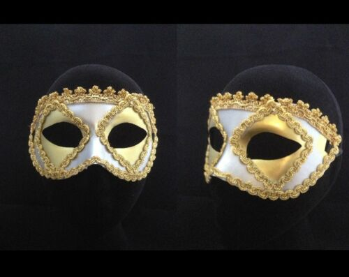 Silver Masquerade Gold Trim Mask Venetian Style Fancy Dress Face Eye Mask